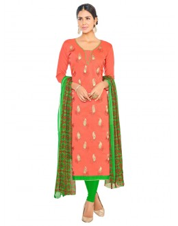 Orange Chanderi Salwar Suit - ASHIQUI GOLD 81011
