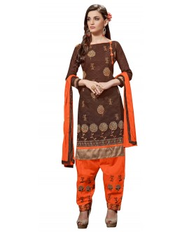 Casual Wear Brown Jacquard Salwar Kameez - 305