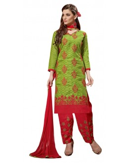 Casual Wear Green Jacquard Salwar Kameez - 307