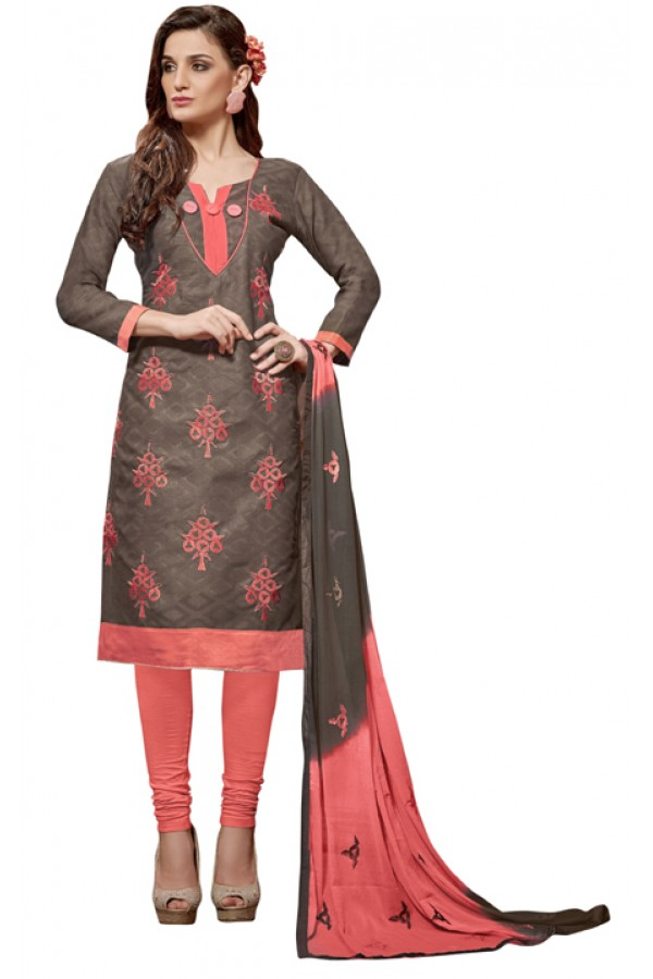 Party Wear Brown Jacquard Churidar Suit - 310