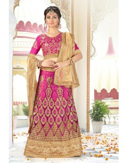 Wedding Wear Pink Net Lehenga Choli - BAANI9501