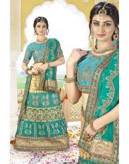 Bridal Wear Green Net Lehenga Choli - BAANI9502