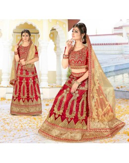 Wedding Wear Red Net Lehenga Choli - BAANI9503