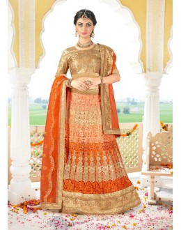 Bridal Wear Orange Net Lehenga Choli - BAANI9505