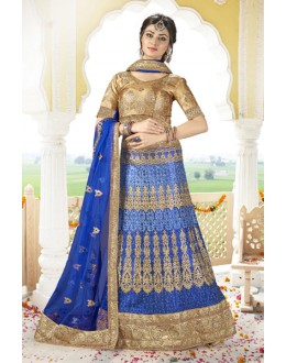 Bridal Wear Blue Net Lehenga Choli - BAANI9507
