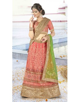 Wedding Wear Peach Net Lehenga Choli - BAANI9508