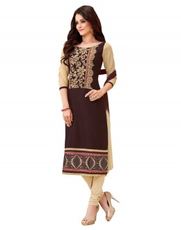 Ethnic Wear Brown & Chickoo Salwar Suit  - BEFIKRE1006