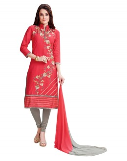 Office Wear Red & Grey Salwar Suit  - BEFIKRE1007