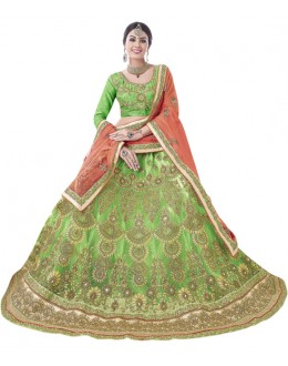 Bridal Wear Green Net Lehenga Choli - BEGUM JAAN15001