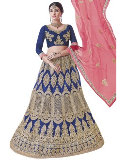 Wedding Wear Royal Blue Net Lehenga Choli - BEGUM JAAN15003