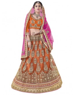 Wedding Wear Orange Net Lehenga Choli -BEGUM JAAN15008
