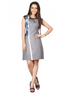 Party Wear Readymade Grey Crepe Kurti - BREEZA-21001