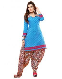 Casual Wear Sky Blue Un-Stitched Salwar Suit - CC12019