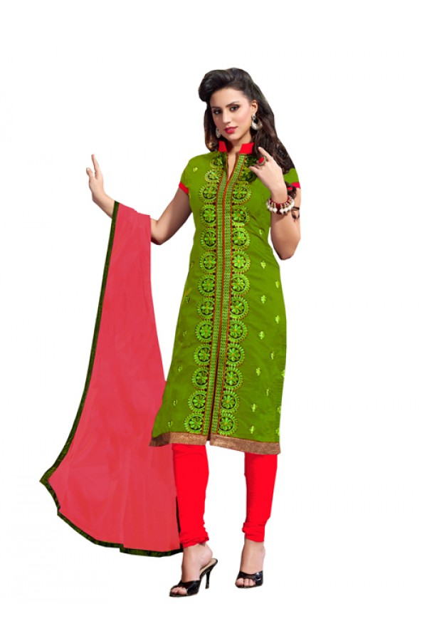 Party Wear Green Chanderi Cotton Churidar Suit - 2ASG5113C