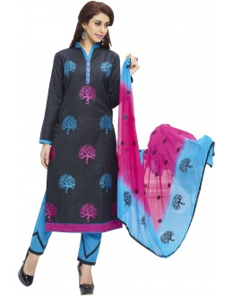 Cotton Jacquard Black Salwar Suit - 1002A