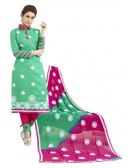 Cotton Jacquard Green Salwar Suit - 1003A