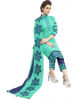 Cotton Jacquard Light Green Salwar Suit - 1005A