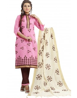 Cotton Jacquard Pink Salwar Suit - 1004B