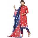 Cotton Jacquard Red Salwar Suit - 1003B