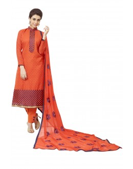 Cotton Jacquard Red Salwar Suit - 1008A