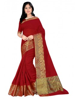 Festival  Wear Maroon Cotton Silk Saree  - COTTON SILK1151