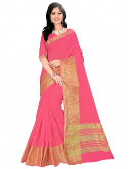Party Wear Pink Cotton Silk Saree  - COTTON SILK1153