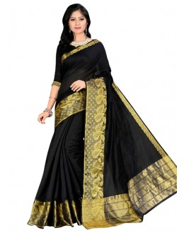 Ethnic Wear Black Cotton Silk Saree  - COTTON SILK1154