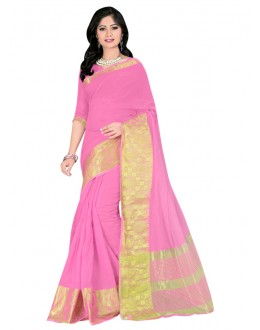 Ethnic Wear Pink Cotton Silk Saree  - COTTON SILK1155