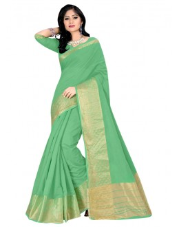 Festival Wear Green Cotton Silk Saree  - COTTON SILK1156
