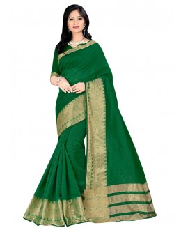 Ethnic Wear Green Cotton Silk Saree  - COTTON SILK1157
