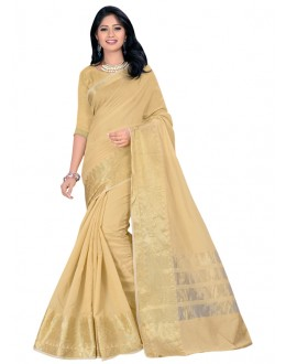 Ethnic Wear Beige Cotton Silk Saree  - COTTON SILK1158