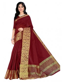 Party Wear Maroon Cotton Silk Saree  - COTTON SILK1159