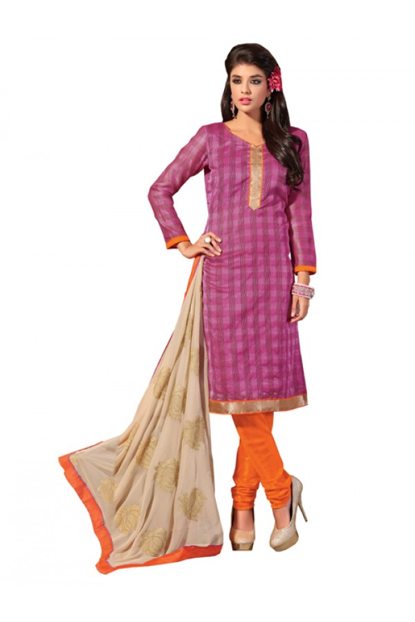Party Wear Pink Banarasi  Un-Stitched Churidar Suit -  DND5003