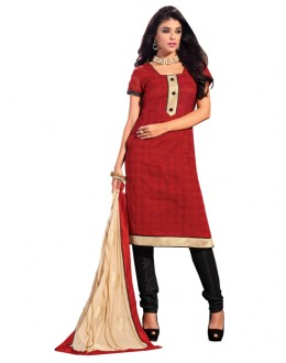 Casual Wear Red Banarasi i Un-Stitched Churidar Suit -  DND5004
