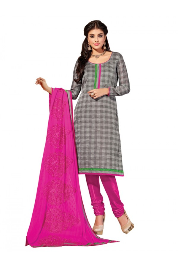 Casual Wear Grey Banarasi Un-Stitched Churidar Suit -  DND5011
