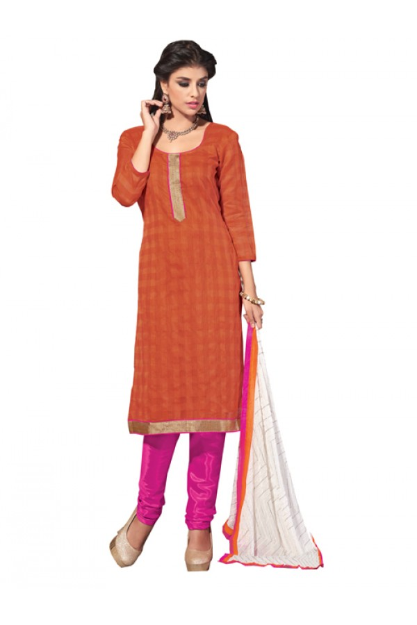 Casual Wear Orange Banarasi Un-Stitched Churidar Suit -  DND5012