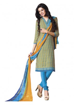 Casual Wear Yellow Un-Stitched Churidar Suit - DZL1003