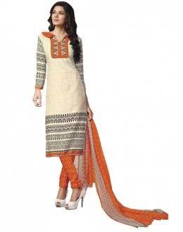 Casual Wear Beige Un-Stitched Churidar Suit - DZL1007