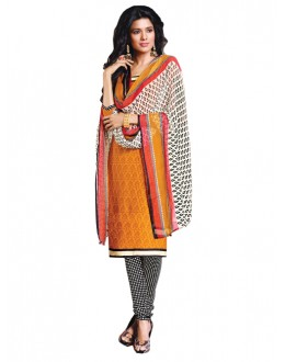 Casual Wear Yellow Un-Stitched Churidar Suit - DZL1017