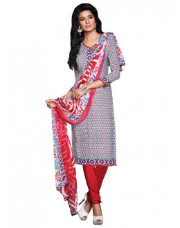 Casual Wear Red Un-Stitched Churidar Suit - DZL1021