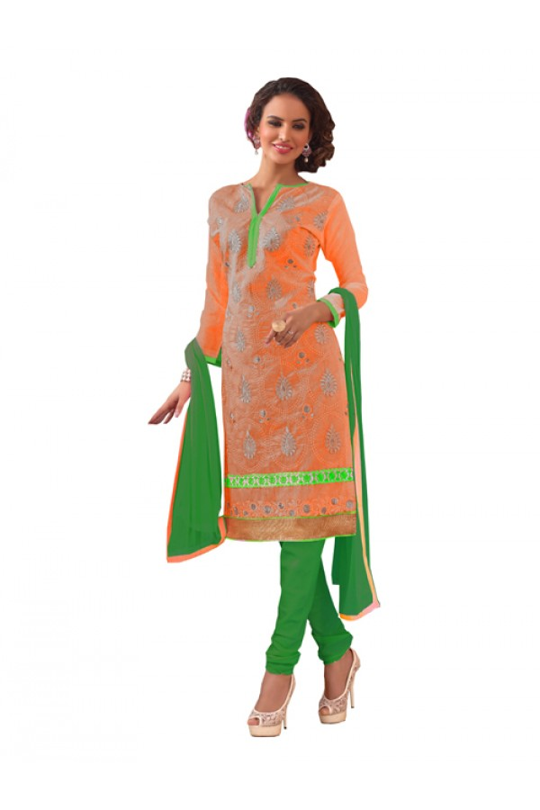 Party Wear Orange Chanderi Silk Un-Stitched Churidar Suit -  3ASG3015B