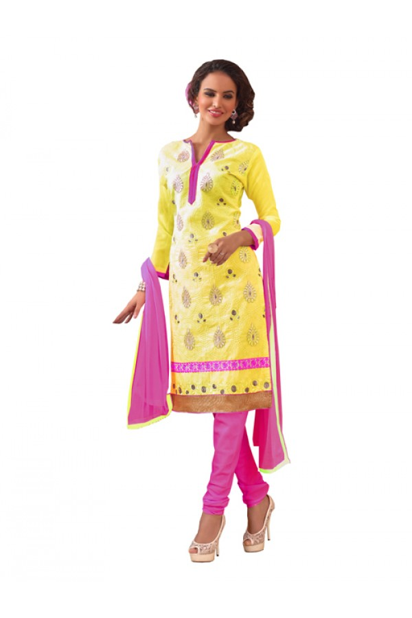 Party Wear Yellow Chanderi Silk Un-Stitched Churidar Suit -  3ASG3015C