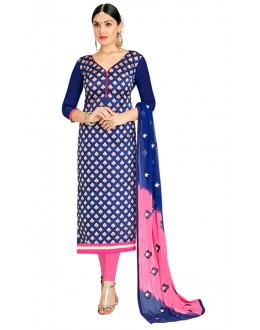 Office Wear Blue & Pink Salwar Suit  - FLORAL1003
