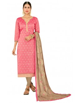 Office Wear Pink & Beige Salwar Suit  - FLORAL1004