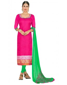 Ethnic Wear Pink & Green Salwar Suit  - FLORAL1005