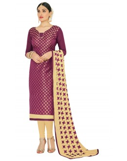 Office Wear Purple & Cream Salwar Suit  - FLORAL1006