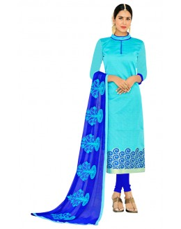 Ethnic Wear Sky Blue Salwar Suit  - FLORAL1009