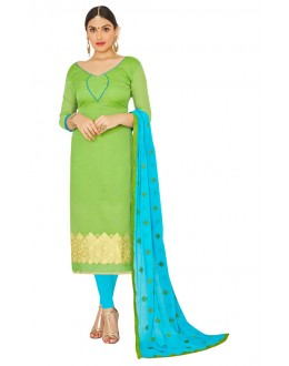 Casual Wear Green & Sky Blue Salwar Suit  - FLORAL1010