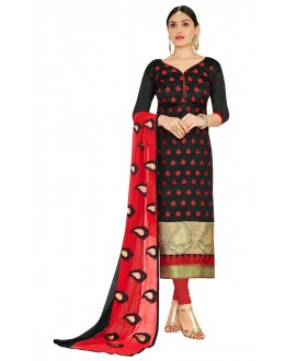 Party Wear Black & Red Salwar Suit  - FLORAL1011