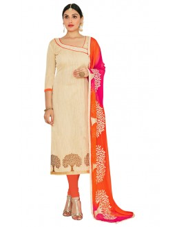 Office Wear Beige & Orange Salwar Suit  - FLORAL1012